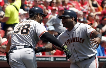 Mike Morse & Pablo Sandoval; all hugs and handshakes in San Fran